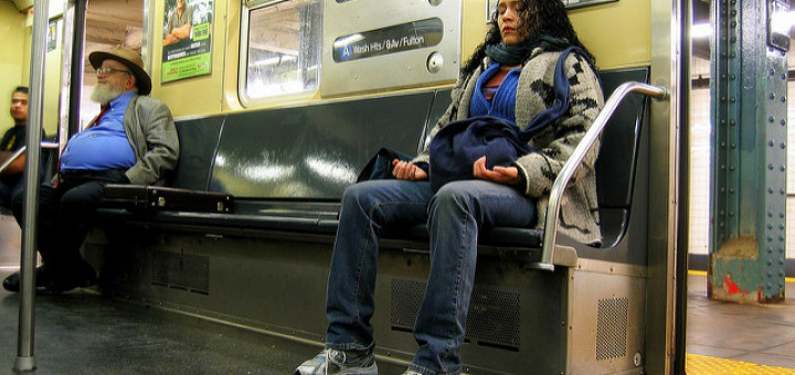 Susan Sermoneta, woman meditating on the subway