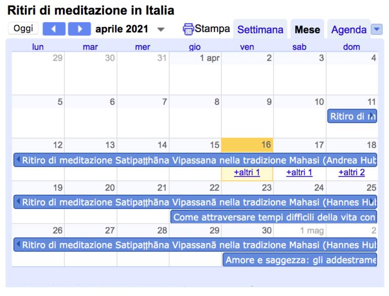 calendario ritiri di meditazione